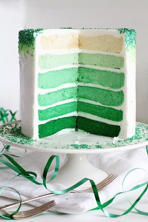 Green Ombre Layer Cake covered in Green Sprinkles