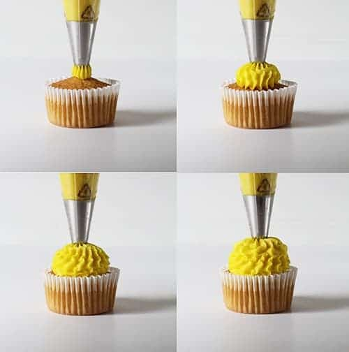 four cupcake decorating techniques with a large french ...
