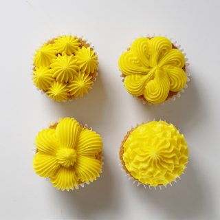 four cupcake decorating techniques with a large french star tip