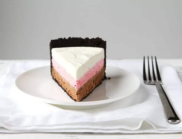 Neapolitan Cheesecake Vanilla Strawberry And Chocolate No Bake Cheesecake