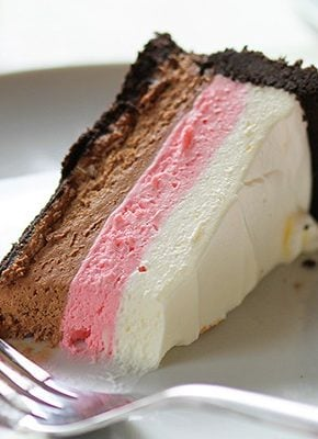 Neapolitan Cheesecake! Vanilla, strawberry and chocolate no-bake cheesecake!
