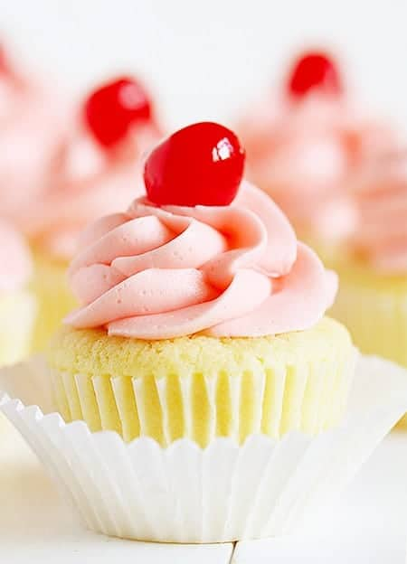 Cherry Limeade Cupcake!  Delicate lime cupcake with sweet Maraschino cherry frosting!