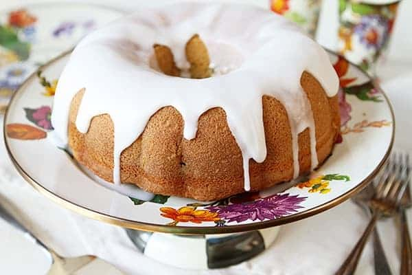 Vanilla Bundt Cake on MacKenzie-Childs Cakestand