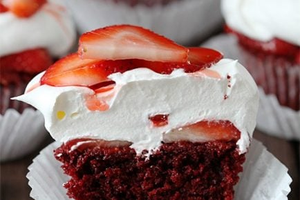 Red Velvet Strawberry Shortcake Cupcakes!
