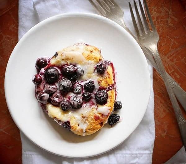 Blueberry & Lemon Cinnamon Roll Breakfast Skillet