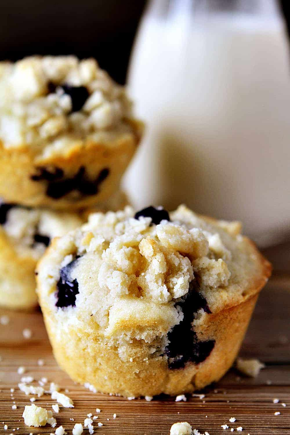 Blueberry Pie Muffins on Wood Cutting Board