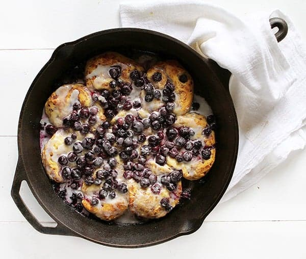 Blueberry & Lemon Cinnamon Roll Breakfast Skillet