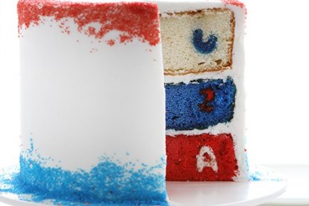 Red White and Blue Surprise-Inside Cake! #usa