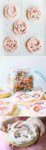 These amazing Sugar Cookies are covered in the BEST Cherry Buttercream and covered with Sprinkles!