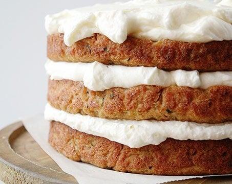 Zucchini Banana Cake with Whipped Cream Cheese Frosting