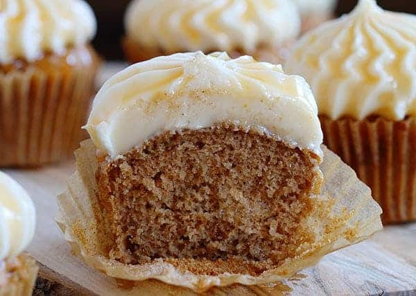 Spice Cupcakes with Caramel Cream Cheese!