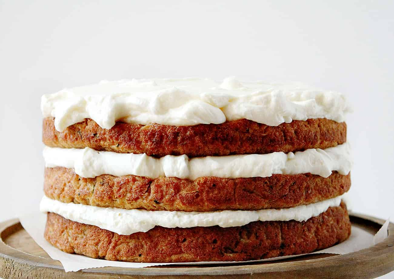 Banana Zucchini Cake with Whipped Cream Cheese Frosting