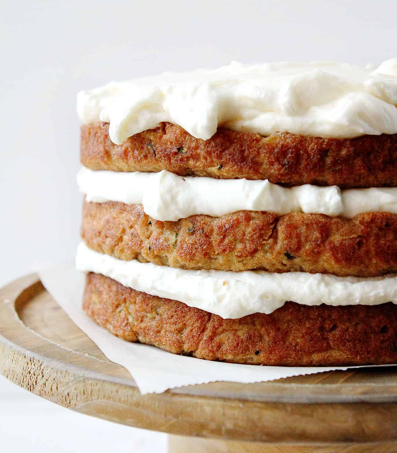 Edges of Banana Zucchini Cake with Whipped Cream Cheese Frosting