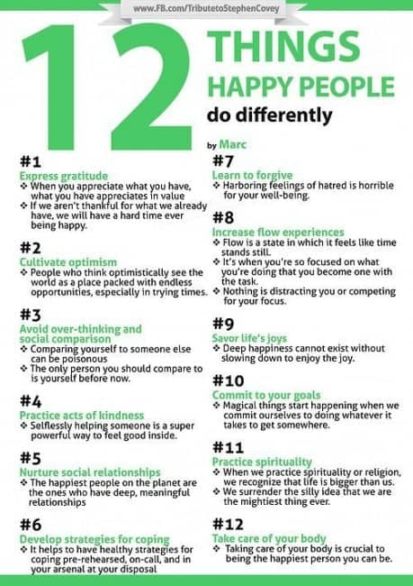 12 Important Things Happy People Do Differently