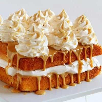 Caramel Cake with Caramel Frosting and Apple Cinnamon Whipped Cream!