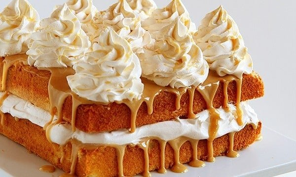 caramel cake with apple cider whipped cream