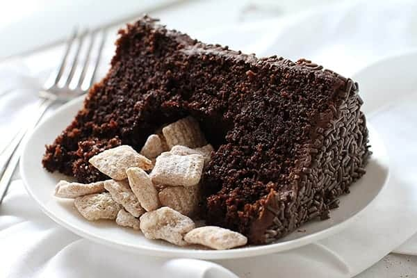 Pumpkin Spice Puppy Chow Surprise-Inside Cake!