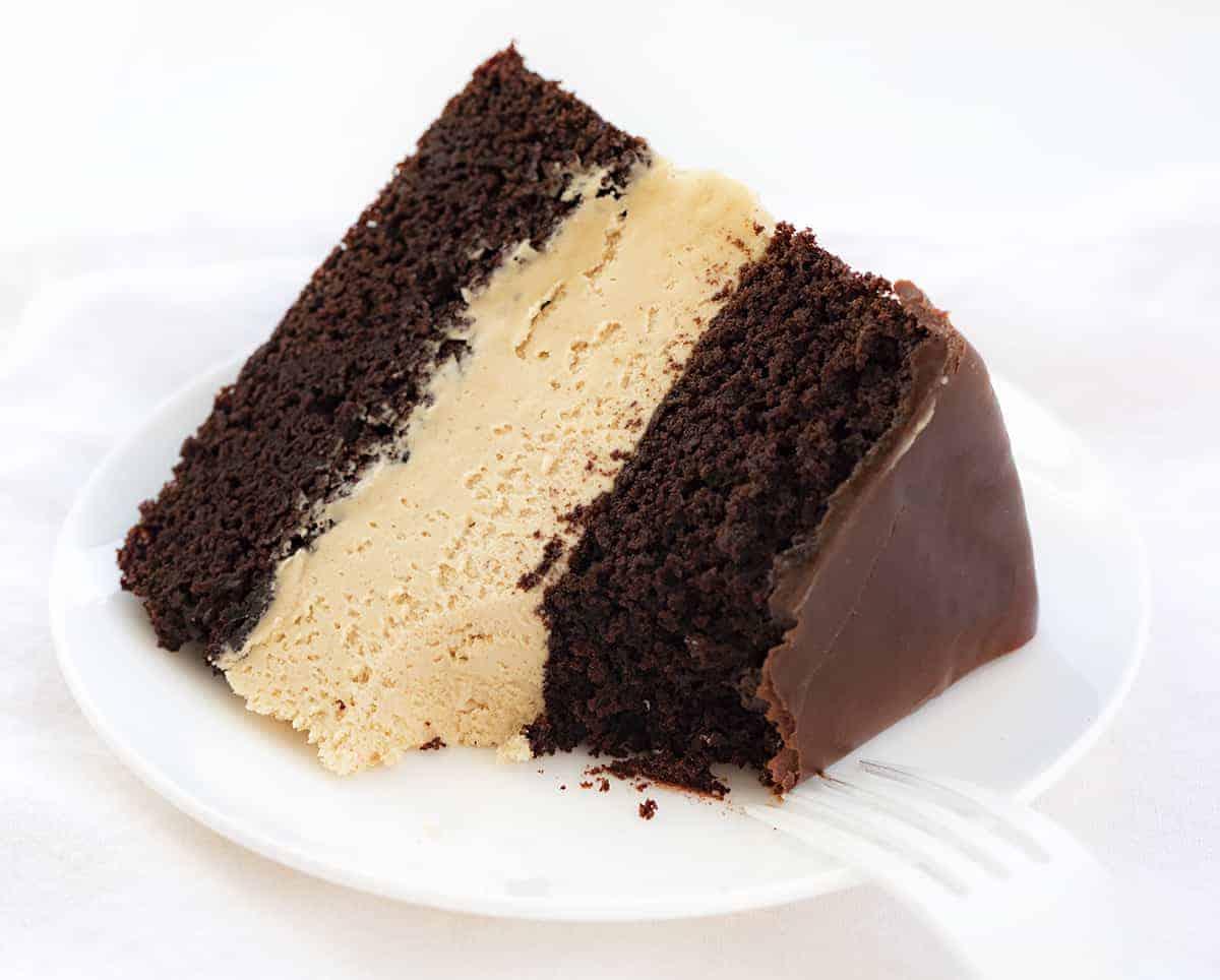 PIece of Biscoff Buckeye Cake on Plate