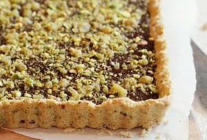 Chocolate Crystalized Ginger and Pistachio Tart!