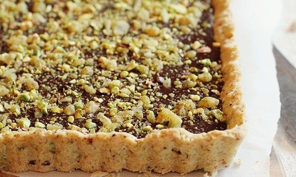 chocolate pistachio and ginger tart