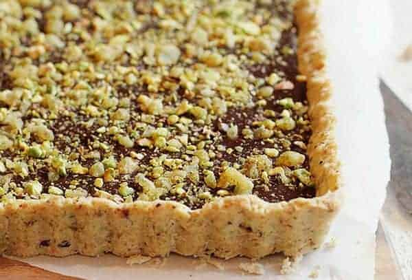 chocolate pistachio and ginger tart - i am baker