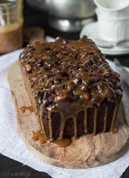 Chocolate Hazelnut Streusel Bread with Salted Caramel