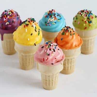 Chocolate Dipped Cupcake Ice Cream Cone with Sprinkles!