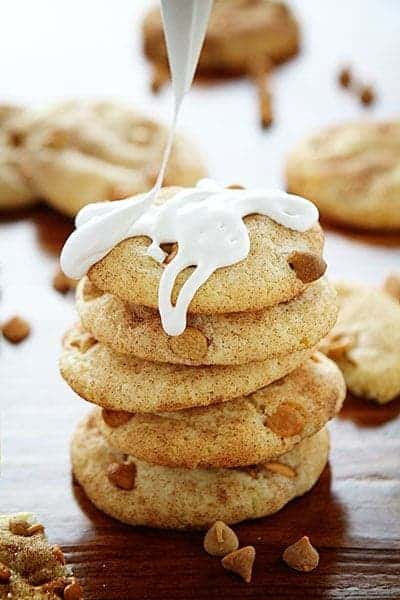 Butterscotch Peanut Butter Snickerdoodle drizzled in Marshmallow Fluff!