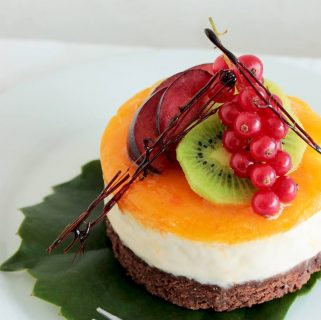 Mini Mango Cheesecake with Brownie Crust