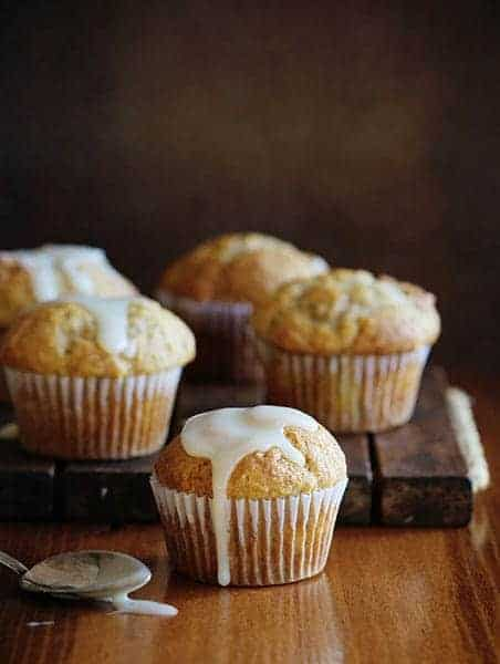 Banana Banana Breakfast Muffin with Vanilla Glaze