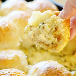 Cheesy Skillet Spinach & Artichoke Dip with Baked Bread