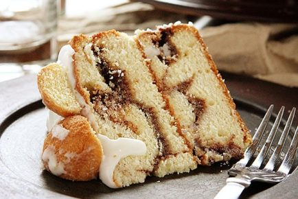 Coffee Breakfast Cake! A layer coffee cake covered in donut balls covered in glaze!