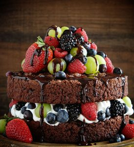 Skinny Chocolate Naked Cake with Fresh Fruit!