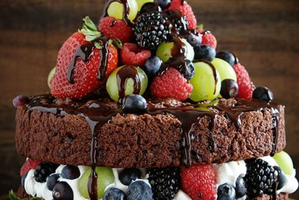 Skinny Chocolate Naked Cake with Fresh Fruit!