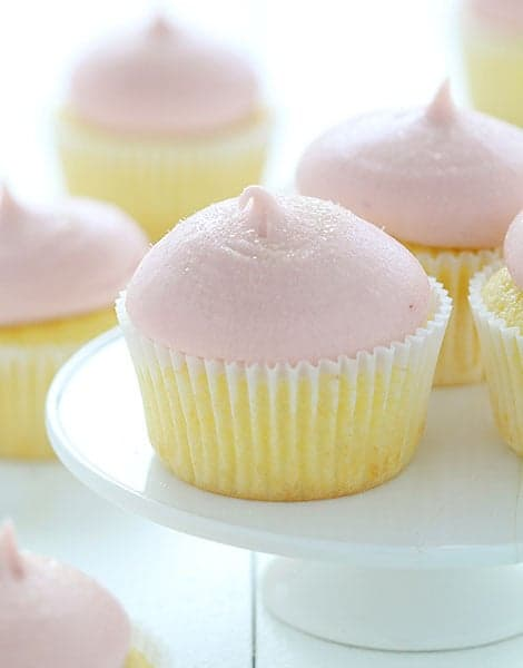 Lemon Cupcakes with Strawberry Buttercream!