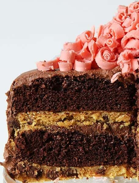 Chocolate Laye Cake with Chocolate Chip Cookie Layers and Mini Pink Chocolate Curls!