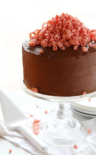 Chocolate Laye Cake with Chocolate Chip Cookie Layers and Mini Pink Chocolate Curls!