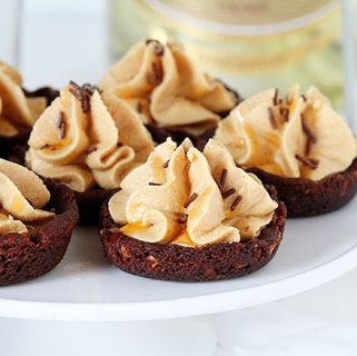 salted caramel peanut butter mousse in a mini chocolate cookie cup