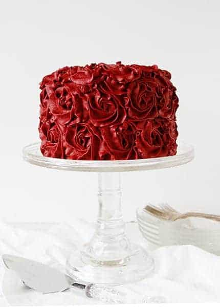 Red Velvet Buttercream Rose Cake
