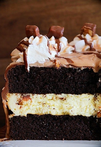 Snickers Cheesecake Cake!
