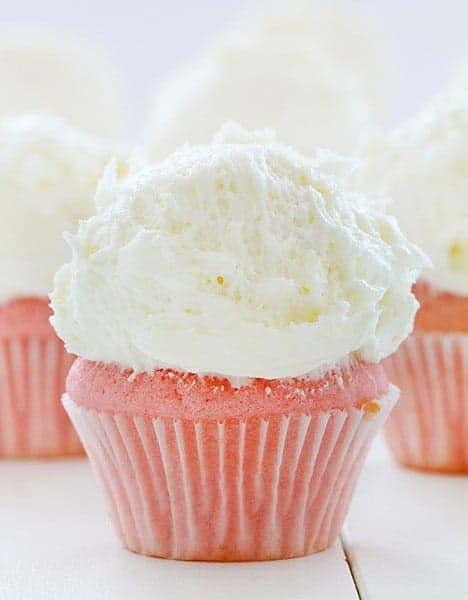 Pink Velvet Cupcakes with Whipped Vanilla Buttercream!