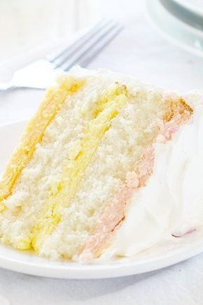Spring Cake! Raspberry, Lemon and Orange Cheesecake in a Moist White Cake!
