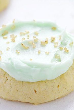 Simple Sugar Cookies with Green Buttercream and Gold Sprinkles!