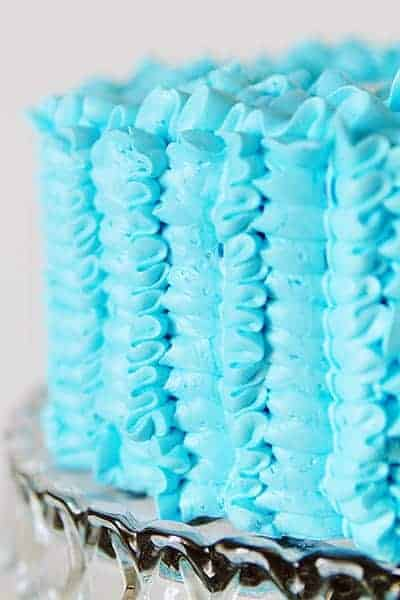 Blue Ruffle Cake with leaf tip