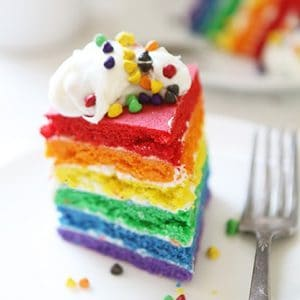 Rainbow Cookie Cake with Rainbow Chip Frosting!
