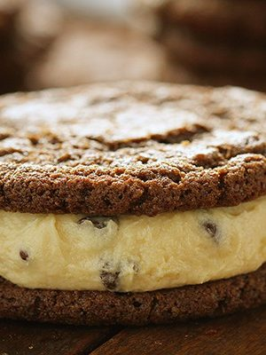 Chocolate Cookie with Cookie Dough filling~ the ultimate cookie sandwich!