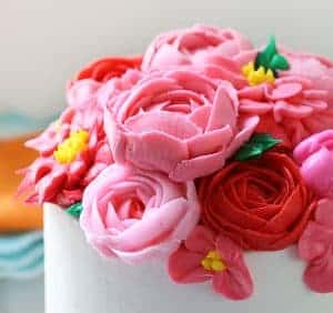 Spring Layer Cake with Pink Buttercream Flowers