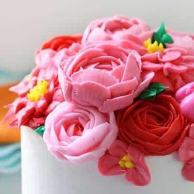 Pink Buttercream Flower Cake inspired by HGTV