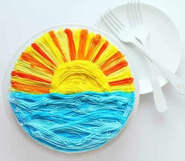 Sunset Cake ~ Done with a #233 grass tip