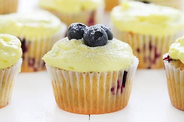 Blueberry Zucchini Cupcakes with Lemon Buttercream!